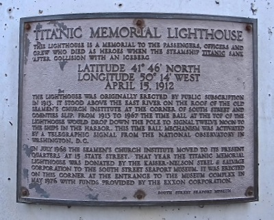 south street seaport titanic lighthouse memorial