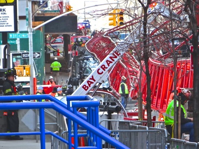 tribeca crane crash hudson st church st worth st nyc manhattan