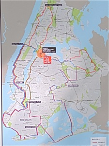 nanhattan century bike ride map with alternative mileage routes