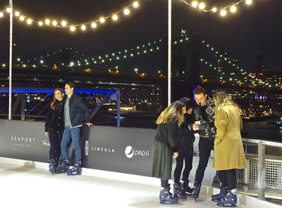 The South Street Seaport adds Winterland Skating to its Recreational Offerings in FiDi Manhattan NYC | south street seaport rooftop skating rink downtown nyc winterland skating rink by brooklyn bridge south st seaport downtown nyc neighborhood manhattan financial district fidi neighborhood manhattan nyc
